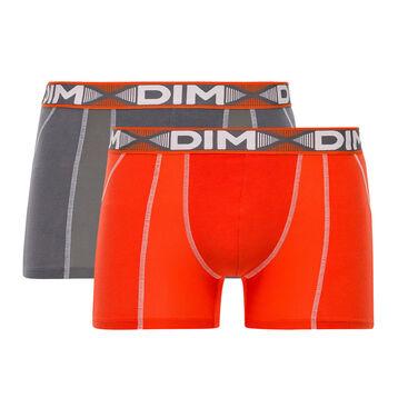Lot de 2 boxers rouge feu et gris foncé 3D Flex Air-DIM