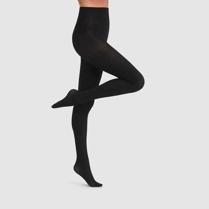 Collant chevrons noir Dim Style 70D, , DIM