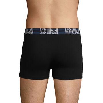 Boxer noir en coton stretch à la ceinture bleue Dim Powerful, , DIM
