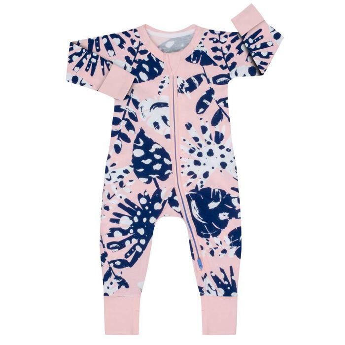Pyjama bébé zippé Imprimé Tropical rose DIM Baby, , DIM
