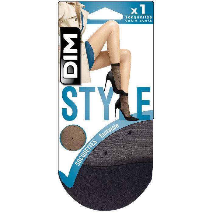 Socquettes noires transparentes motif plumetis Style 15D, , DIM
