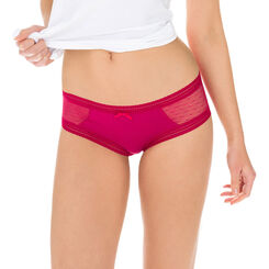 Lot de 2 shortys rouges coton et dentelle Sexy Transparency-DIM