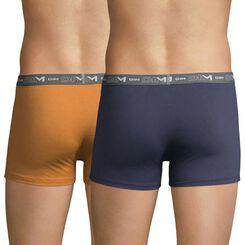 Lot de 2 boxers jaune et bleu orage DIM Coton Stretch-DIM