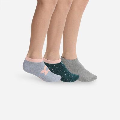 Lot de 3 paires de socquettes enfant motif fleur Gris Coton Style, , DIM