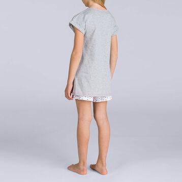 Pyjama court Gris chiné nœuds DIM GIRL, , DIM
