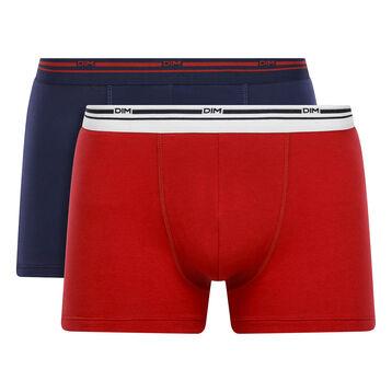 Lot de 2 boxers coton stretch Rouge Lave et Bleu Denim Daily Colors, , DIM