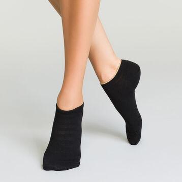 Lot de 2 paires de socquettes Noires pour femme en coton effet lurex, , DIM