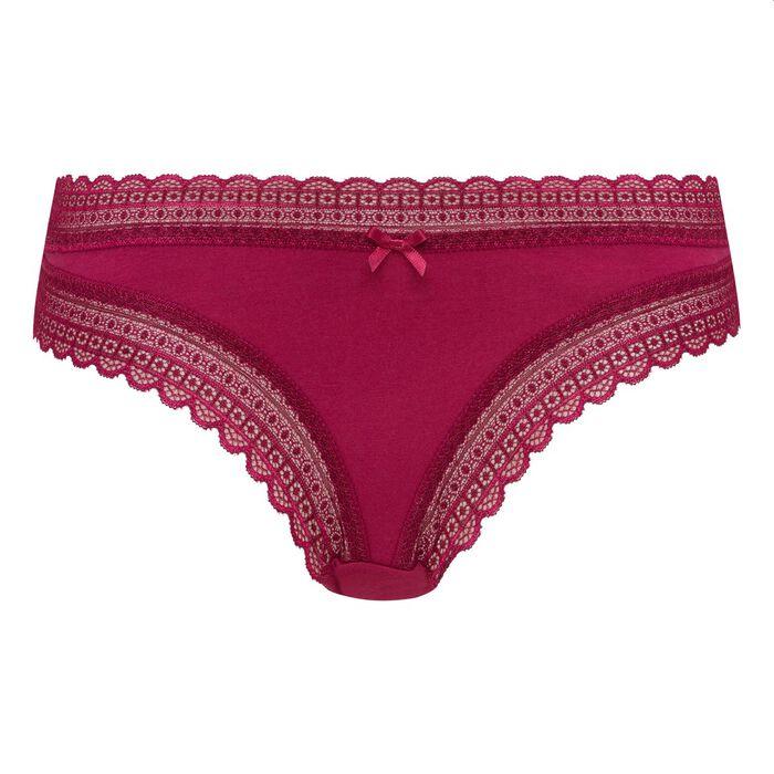 Culotte coton et dentelle rouge vernis Green Bar à Culottes de Dim, , DIM