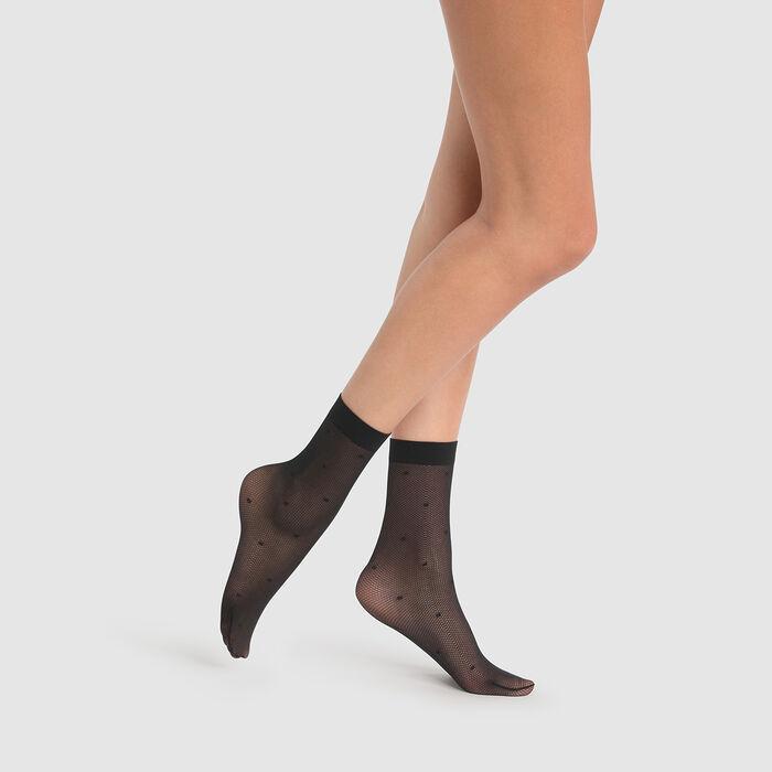 Socquettes fantaisie noires en résille imprimé plumetis Dim Style 27D, , DIM