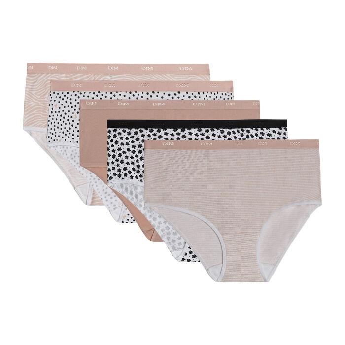Lot de 5 boxers femme en coton stretch motifs romantiques Les Pockets, , DIM
