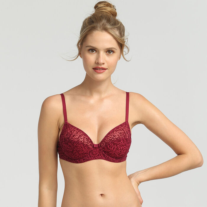 Soutien-gorge foulard push-up rouge vernis Sublim Velours de Dim, , DIM