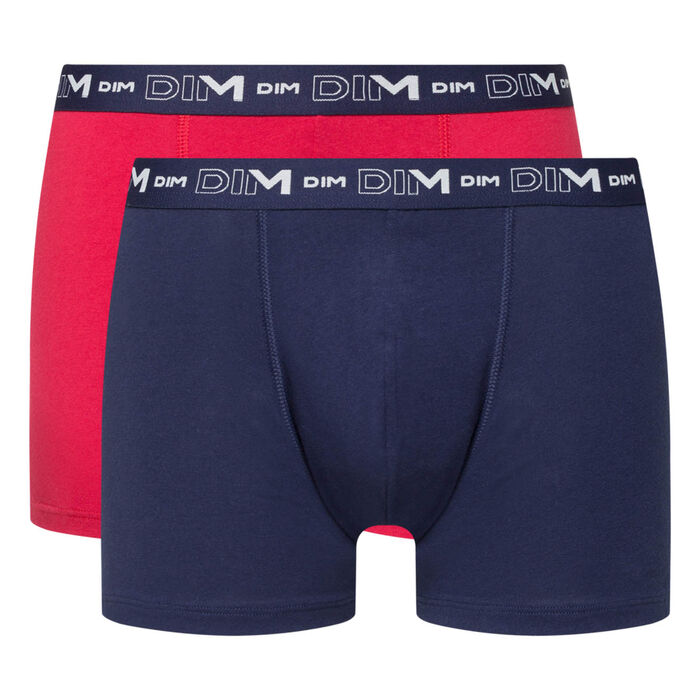 Lot de 2 boxers homme bleu denim rouge topaze Coton Stretch, , DIM