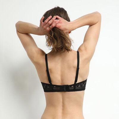 Brassière femme sans armature en dentelle à fleurs Noir Daily Glam, , DIM