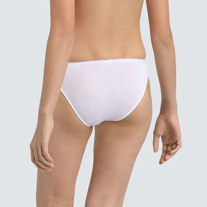 Culotte fille en coton stretch à ceinture dentelle Blanc Dim trendy, , DIM