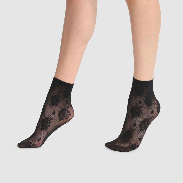 Socquettes fantaisie imprimé rose couture en dentelle noire Style 33D, , DIM