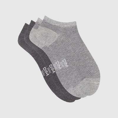 Lot de 2 paires de chaussettes basses motif chevron Gris Coton Style, , DIM