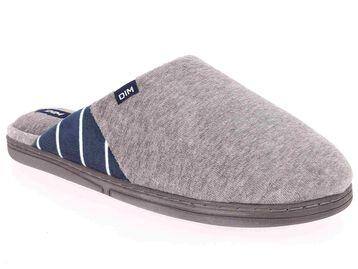 Chaussons pantoufles gris en velours Homme-DIM