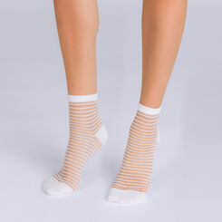 Socquettes à rayures blanches Femme Style-DIM