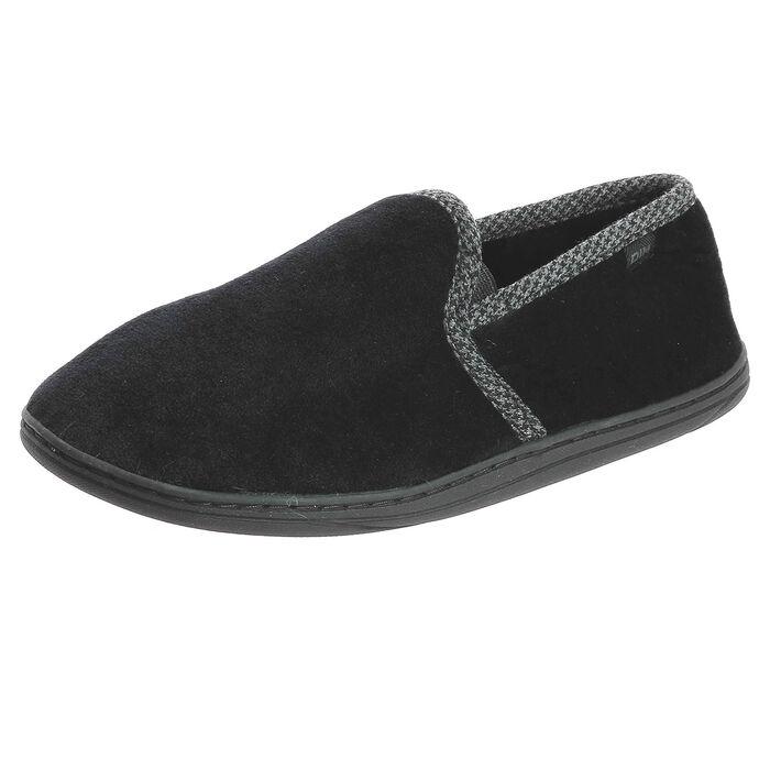 Chaussons type charentaises noirs avec coutures grises Homme, , DIM