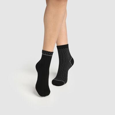 Lot de 2 paires de socquettes femme coton bio à pois Noir Green by Dim, , DIM