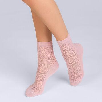 Socquettes Coton style Moucharabieh rose Femme-DIM