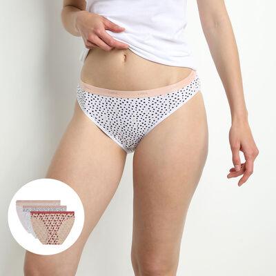 Lot de 3 slips femme coton stretch imprimé graphique Rose Les Pockets, , DIM