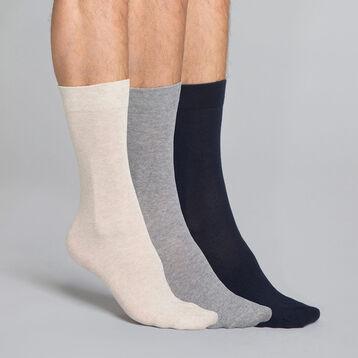 Lot de 3 paires de mi-chaussettes bleues, beiges et grises en coton Homme, , DIM