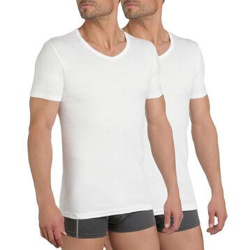 Lot de 3 t-shirts blancs  col V 100% coton EcoDIM-DIM