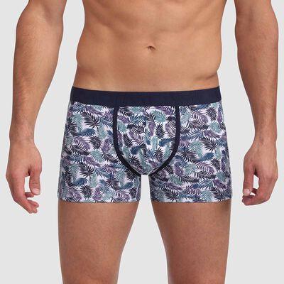 Boxer coton stretch imprimé palmiers ceinture contrastée Mix and Fancy, , DIM