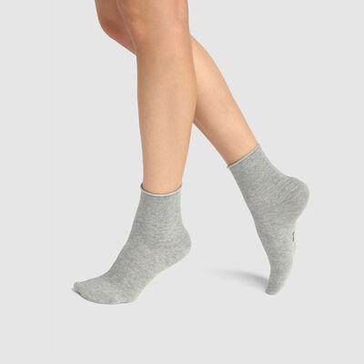 Lot de 2 paires de socquettes coton et lurex argenté Gris Coton Style, , DIM