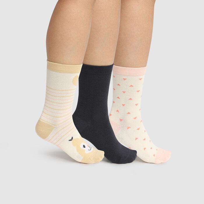 Lot de 3 paires de chaussettes coton écureuil Ivoire Kids Coton Style, , DIM
