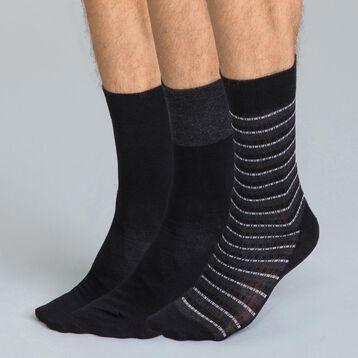 Lot de 3 chaussettes noires imprimées rayures Homme-DIM