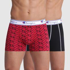 Lot de 2 boxers rouge imprimé logo et noir coutures apparentes - Champion, , DIM