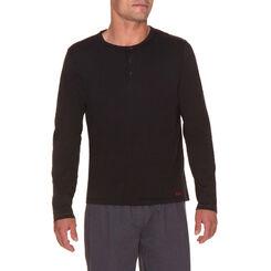 T-shirt de pyjama manches longues noir à boutonnière Homme-DIM