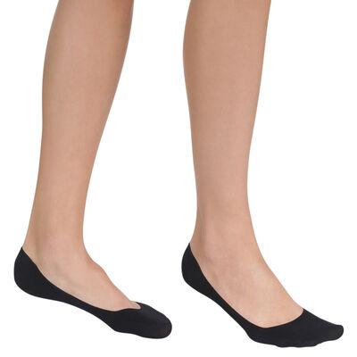 Lot de 2 paires de protège-pieds noirs en coton Femme, , DIM