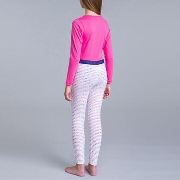 Pyjama 2 pièces pantalon blanc imprimé rose et t-shirt rose-DIM