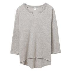 Sweatshirt gris clair manches trois quarts Femme-DIM