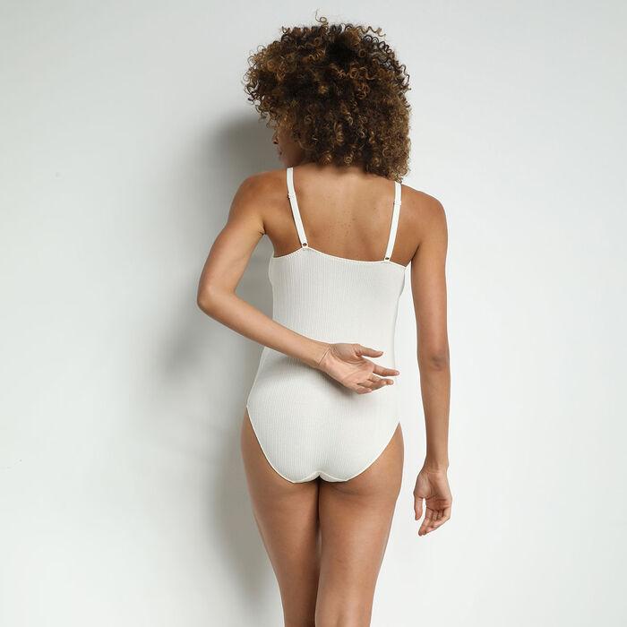 Body femme en coton cotelé et bord dentelle Nacre Coton Lace, , DIM