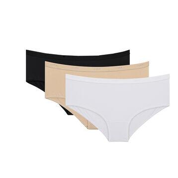 Lot de 3 Boxers blanc/peau/noir Les Pockets Coton-DIM