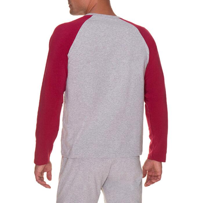 T-shirt de pyjama manches longues gris chiné Homme-DIM