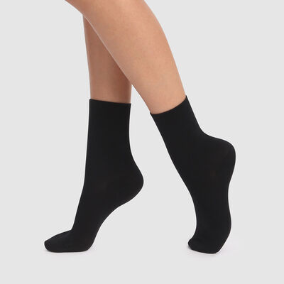 Lot de 2 paires de socquettes courtes noires coton lyocell Green, , DIM