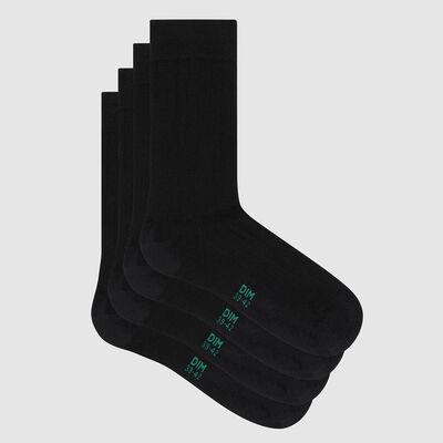 Lot de 2 paires de chaussettes homme lyocell côtelé noir Green by Dim, , DIM