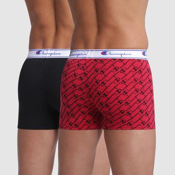 Lot de deux boxers Rouge Imprimé et Noir pour homme en coton Champion, , DIM