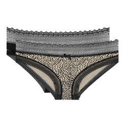 Lot de 2 slips imprimé animal et noir Sexy Fashion coton-DIM