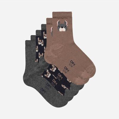 Lot de 3 paires de chaussettes enfant à motifs chiens Coton Style Kids, , DIM