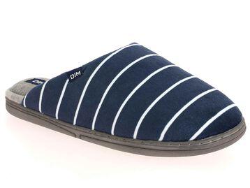Pantoufles en velours bleu marine à rayures blanches-DIM