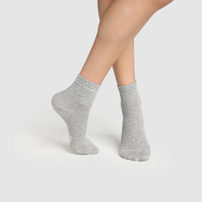 Lot de 2 paires de socquettes femme coton bio à pois Gris Green by Dim, , DIM