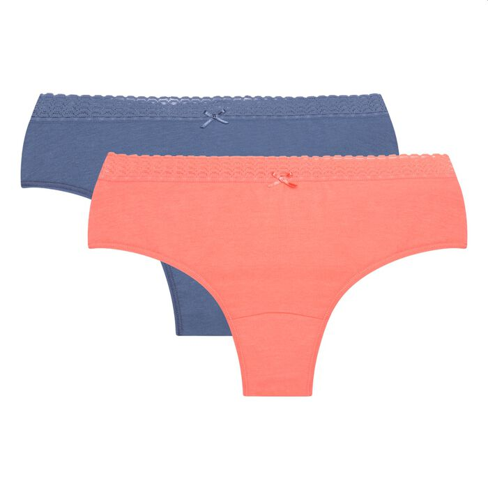 Lot de 2 hipsters coton stretch corail rosé et bleu Dim Basic Fashion, , DIM