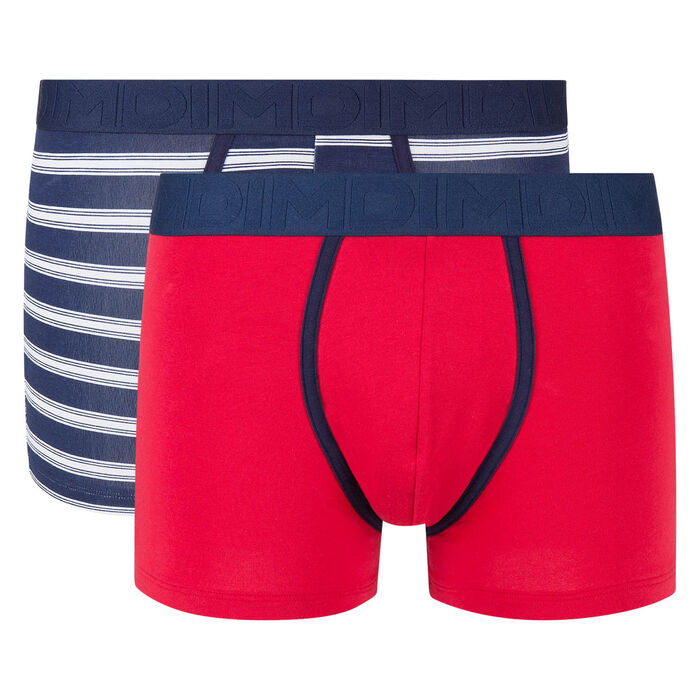 Lot de 2 boxers rouge topaze et bleu imprimé toile Mix and Fancy, , DIM