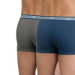 Lot de 2 boxers gris foncé et bleu minuit 3D Flex-DIM